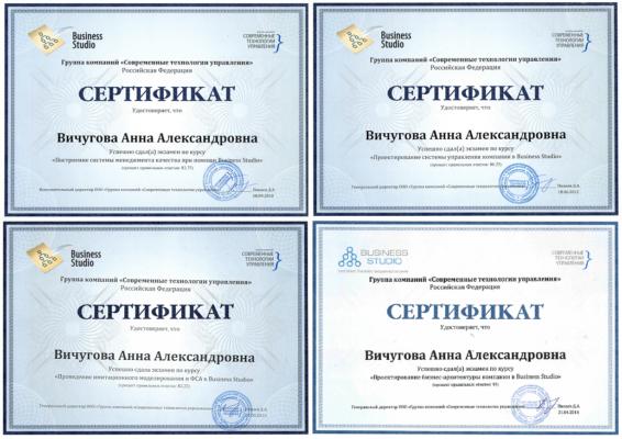 сертификаты Business Studio Вичугова Анна Александровна